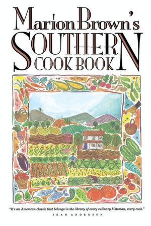 "Cover of ""Marion Brown's Southern Cookbook"" showing an illustration of a farm."