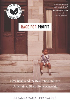 "Cover of ""Race for Profit"" by Keeanga-Yamahtta Taylor, showing a young Black girl sitting on the steps of a city building."