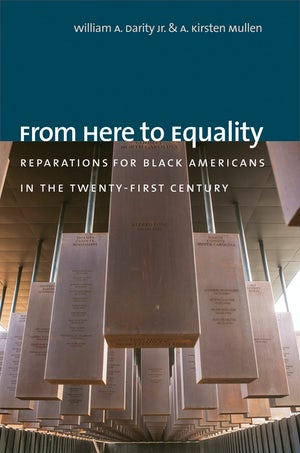 "Cover of ""From Here to Equality"" by William A. Darity Jr. and Kirsten Mullen, showing several stone or concrete monuments hanging from a ceiling."
