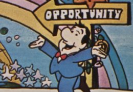 "Screen cap from the Cartoon PSA on the U.S. Chamber of Commerce. Man in a business suit with his hands up in the air, walking down a path that says ""Opportunity"""