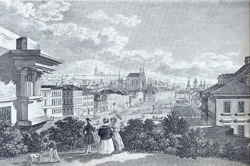 Vincenc Morstadt was a German visual artist born in 1802. This drawing depicts Wenceslas Square, one of the main city squares and center of the business and cultural communities in the New Town of Prague, during 1830.