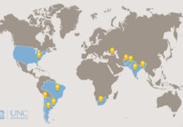 A world map illustration showing areas that Hendree has helped women and children. These areas are The United States, Brazil, Uruguay, Argentina, Chile, South America, Georgia, Afghanistan, Pakistan, India, and Bangladesh