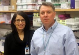 Picture of Paola Gehrig and William Zamboni together in the lab